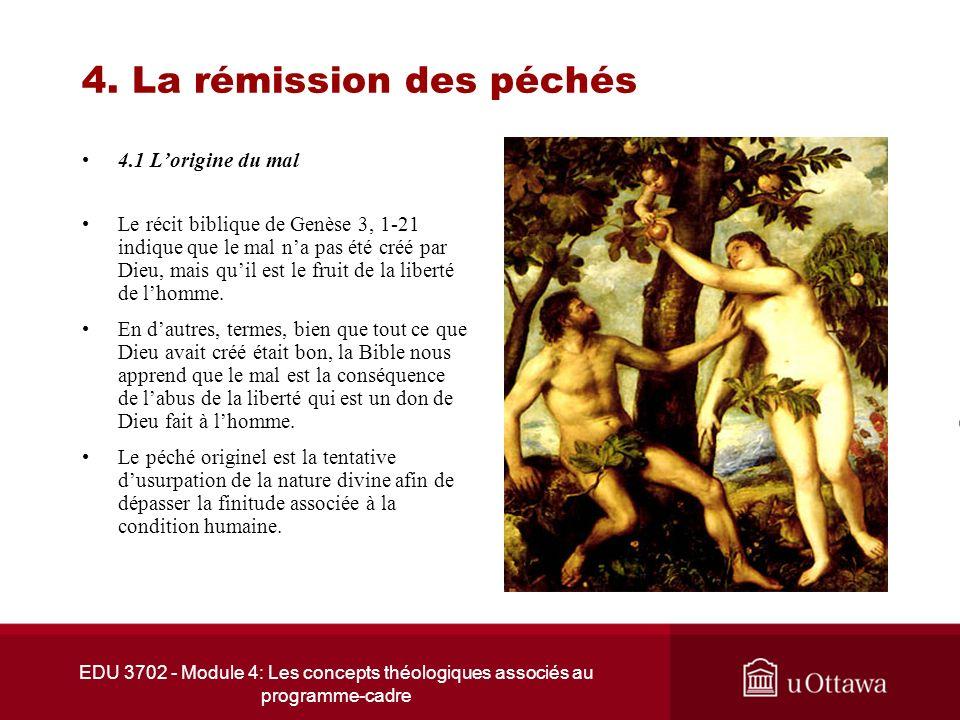 EDU 3702 - Module 4: Les concepts théologiques associés au programme-cadre 4. La rémission des péchés 4.1 Lorigine du mal Le récit biblique de Genèse