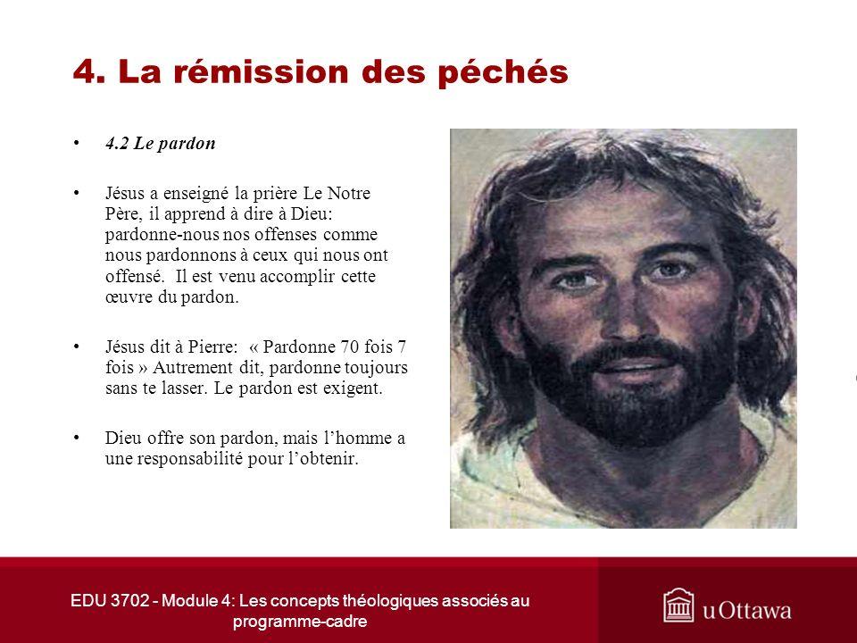 EDU 3702 - Module 4: Les concepts théologiques associés au programme-cadre 4. La rémission des péchés 4.2 Le pardon Jésus a enseigné la prière Le Notr