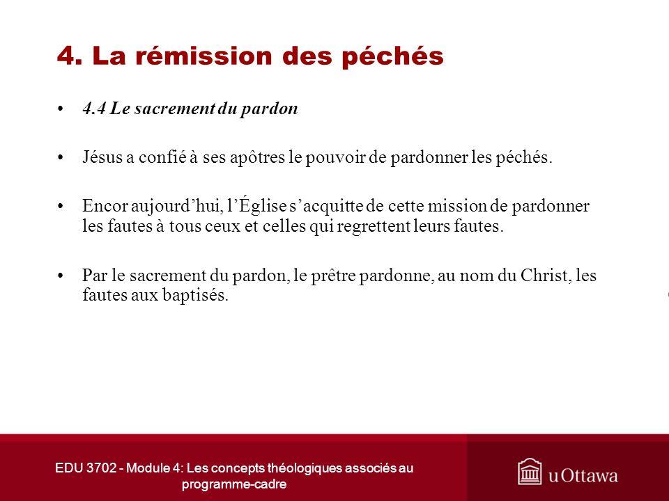 EDU 3702 - Module 4: Les concepts théologiques associés au programme-cadre 4. La rémission des péchés 4.4 Le sacrement du pardon Jésus a confié à ses