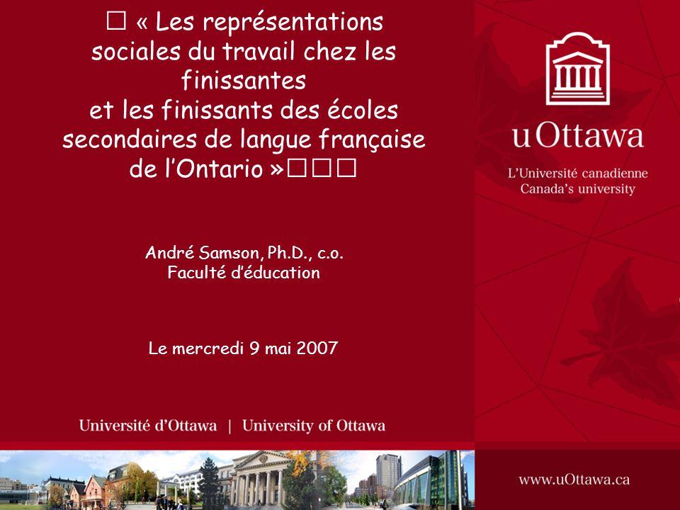 « Les représentations sociales du travail chez les finissantes et les finissants des écoles secondaires de langue française de lOntario » André Samson, Ph.D., c.o.