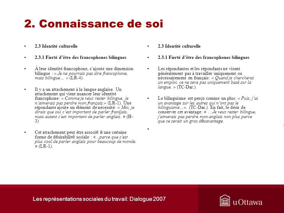 Les représentations sociales du travail: Dialogue 2007 2. Connaissance de soi 2.3 Identité culturelle 2.3.1 Fierté dêtre des francophones bilingues Le
