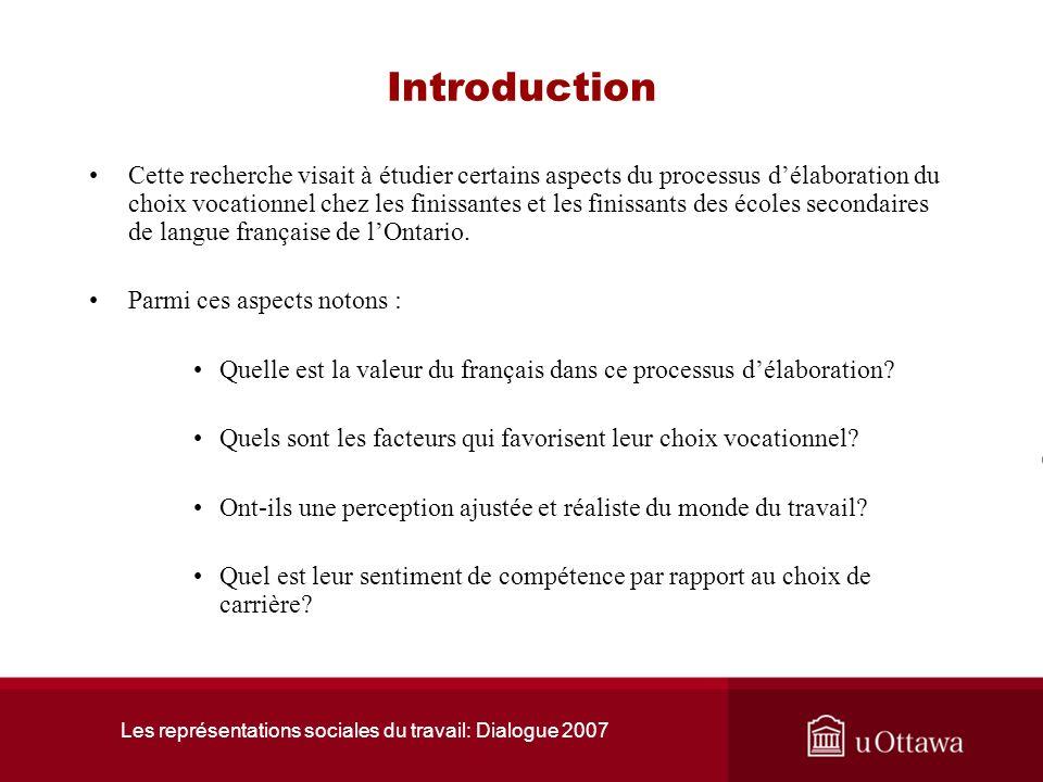 Les représentations sociales du travail: Dialogue 2007 Introduction Cette recherche visait à étudier certains aspects du processus délaboration du choix vocationnel chez les finissantes et les finissants des écoles secondaires de langue française de lOntario.