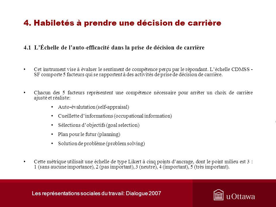 Les représentations sociales du travail: Dialogue 2007 3. Connaissance du marché du travail 3.3 Sommaire Les données quantitatives et lanalyse qualita