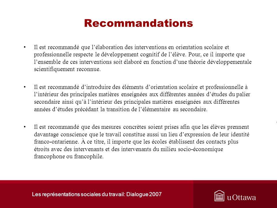 Les représentations sociales du travail: Dialogue 2007 Conclusion La connaissance de soi et la connaissance du marché du travail, semblent surtout se