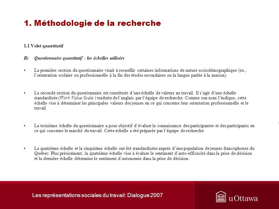 Les représentations sociales du travail: Dialogue 2007 1. Méthodologies de la recherche