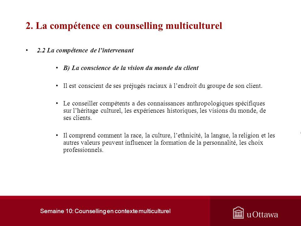 Semaine 10: Counselling en contexte multiculturel 2.