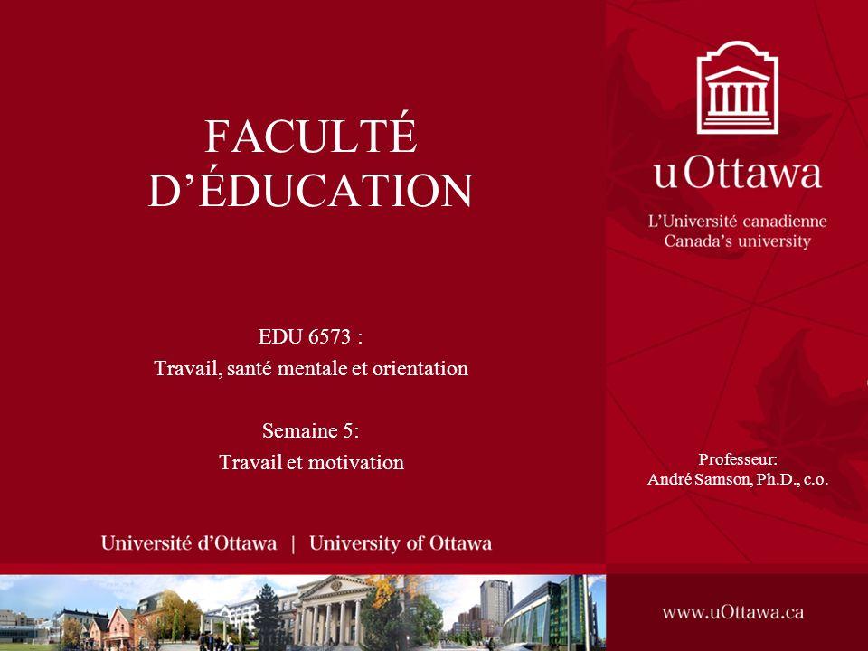 FACULTÉ DÉDUCATION EDU 6573 : Travail, santé mentale et orientation Semaine 5: Travail et motivation Professeur: André Samson, Ph.D., c.o.