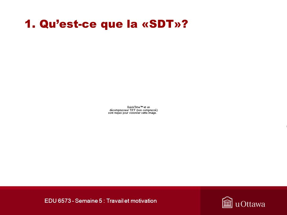 EDU 6573 - Semaine 5 : Travail et motivation 1. Quest-ce que la «SDT»? 1.2 Motivation intrinsèque vs la motivation extrinsèque La motivation extrinsèq