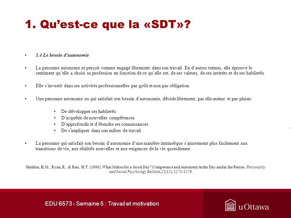 EDU 6573 - Semaine 5 : Travail et motivation Quest-ce que la «SDT»? 1.3 Les besoins psychologiques fondamentaux La motivation humaine est constituée d