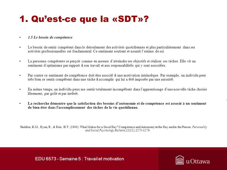 EDU 6573 - Semaine 5 : Travail et motivation 1. Quest-ce que la «SDT»? 1.4 Le besoin dautonomie La personne autonome se perçoit comme engagé librement