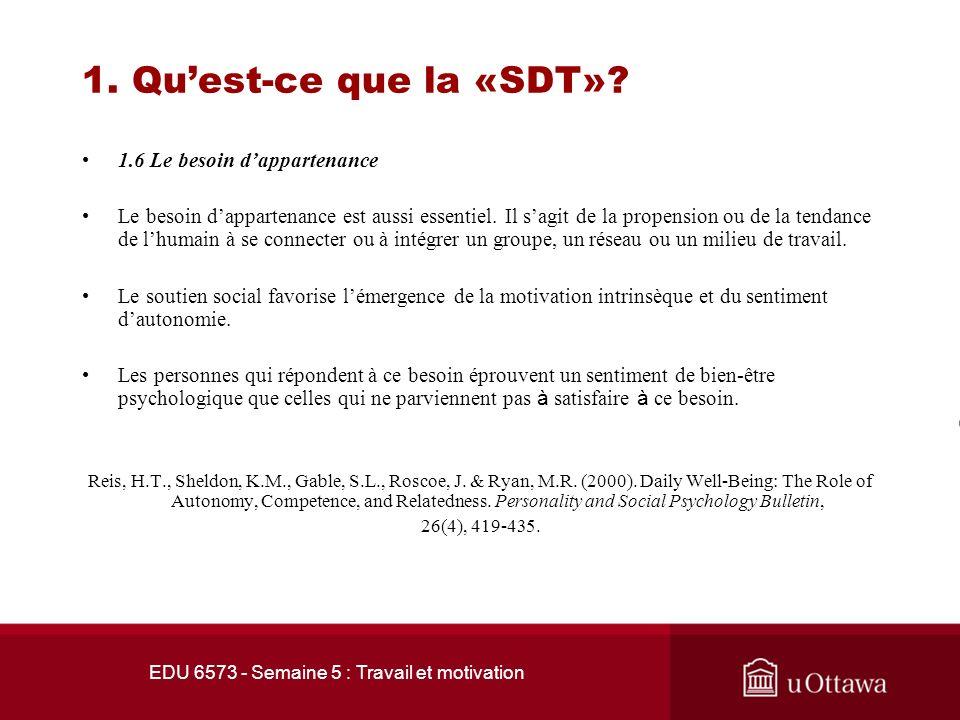 EDU 6573 - Semaine 5 : Travail et motivation 1. Quest-ce que la «SDT»? 1.5 Le besoin de compétence Le besoin de sentir compétent dans le déroulement d