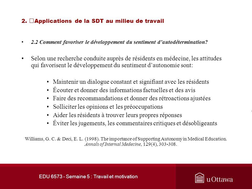EDU 6573 - Semaine 5 : Travail et motivation 2. Applications de la SDT au milieu de travail 2.1 Les facteurs déterminants Selon les principes de la SD