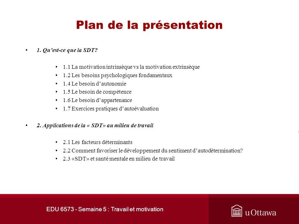 EDU 6573 - Semaine 5 : Travail et motivation Plan de la présentation 1.
