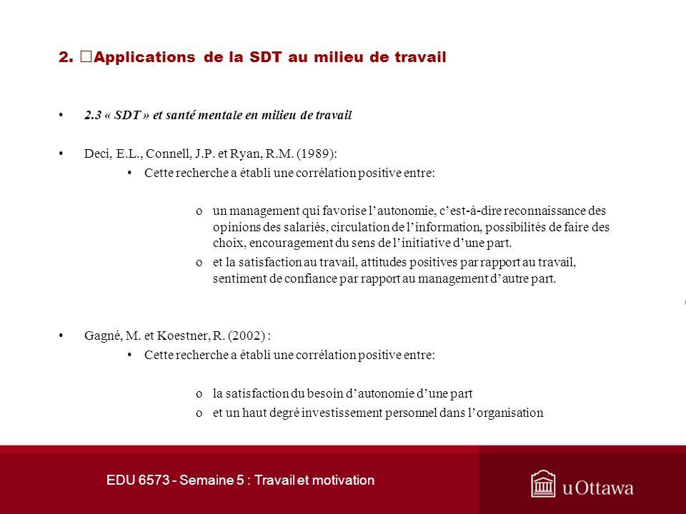 EDU 6573 - Semaine 5 : Travail et motivation 2. Applications de la SDT au milieu de travail 2.3 « SDT » et santé mentale en milieu de travail Selon lé
