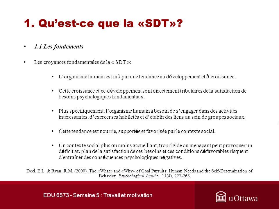 EDU 6573 - Semaine 5 : Travail et motivation Plan de la présentation 1. Quest-ce que la SDT? 1.1 La motivation intrinsèque vs la motivation extrinsèqu