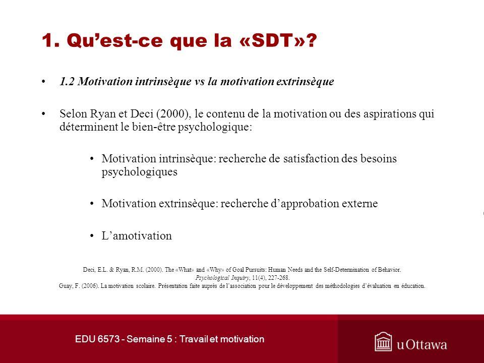 EDU 6573 - Semaine 5 : Travail et motivation 1. Quest-ce que la «SDT»? 1.1 Les fondements Les croyances fondamentales de la « SDT »: Lorganisme humain