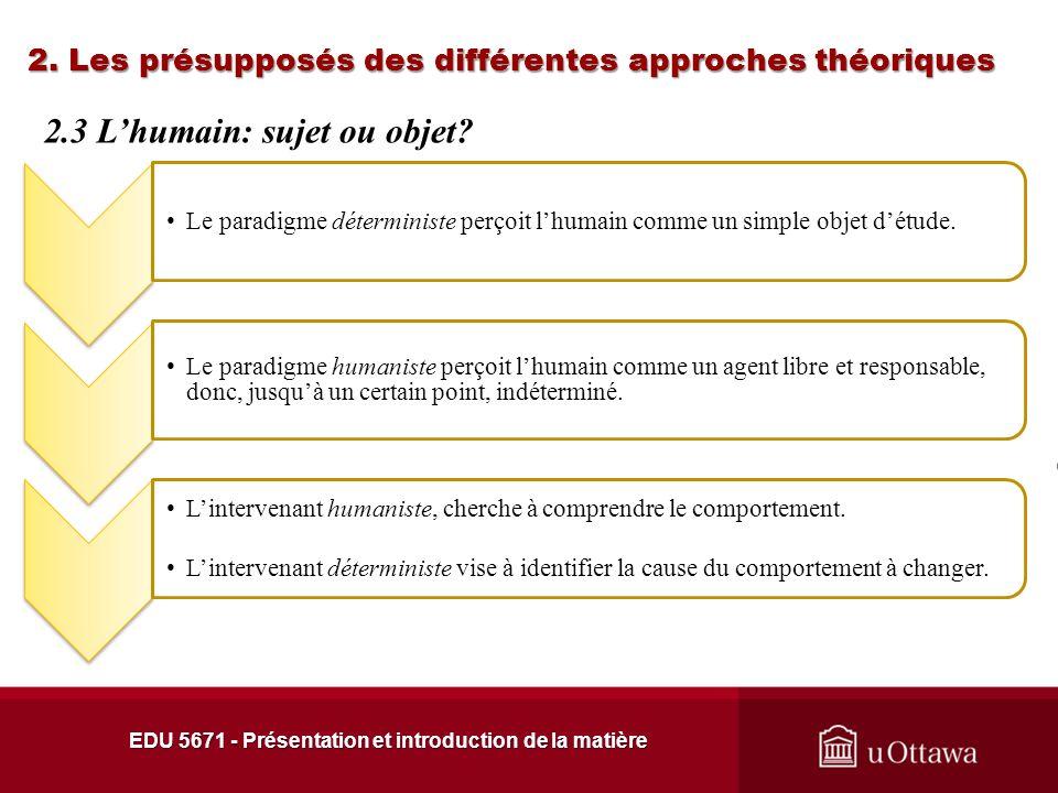 2. Les présupposés des différentes approches théoriques Le paradigme déterministe regroupe les approches dynamiques, cognitives et comportementales. L