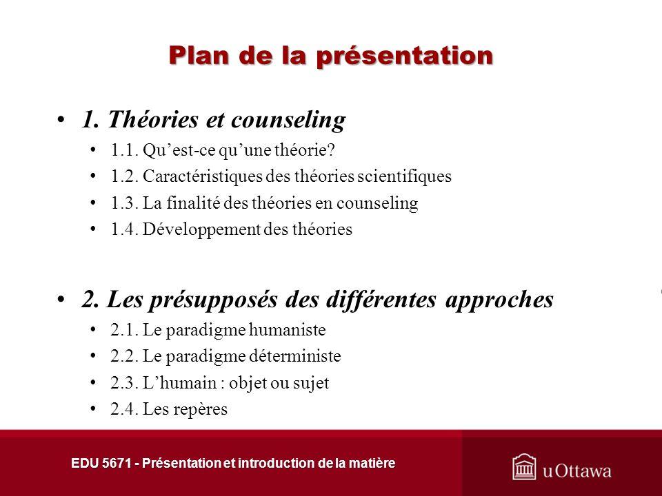 Plan de la présentation 1.Théories et counseling 1.1.