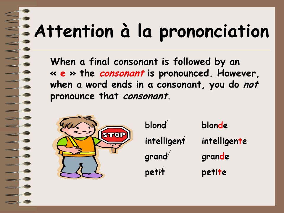 Attention à la prononciation When a final consonant is followed by an « e » the consonant is pronounced.