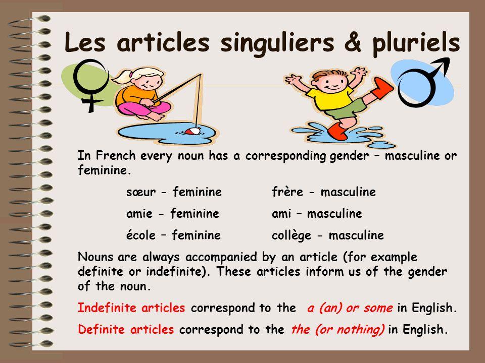 Les Articles Indéfinis (a/an,some) Masculin: un un frère un élève un collège Féminin: une une sœur une élève une école Pluriel: des des garçons des filles des élèves