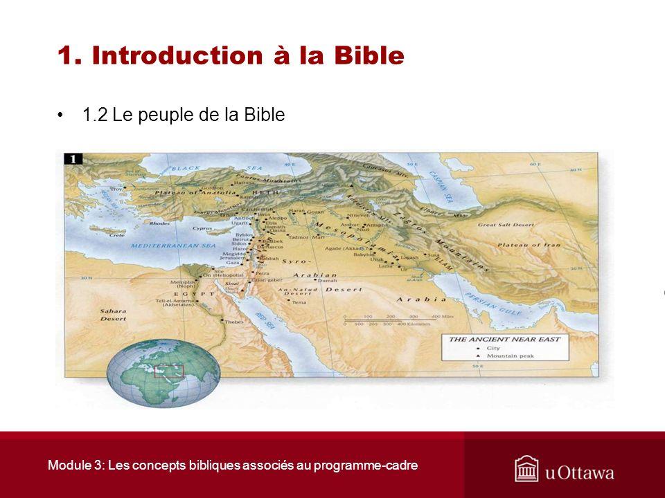Module 3: Les concepts bibliques associés au programme-cadre 1. Introduction à la Bible 1.2 Le peuple de la Bible Le plus souvent, cette migration se