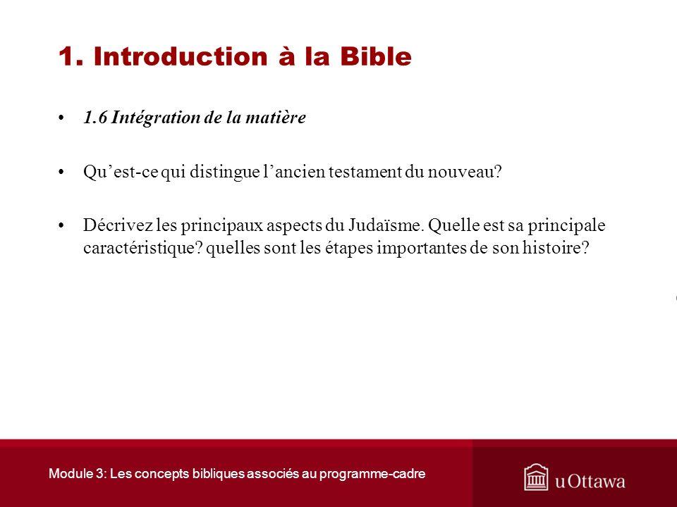 Module 3: Les concepts bibliques associés au programme-cadre 1. Introduction à la Bible 1.5 Ressources Ce site donne une liste exhaustive des livres d