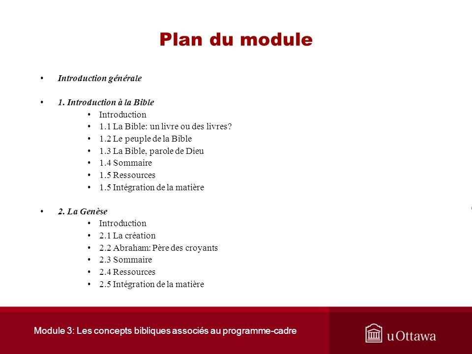 Module 3: Les concepts bibliques associés au programme-cadre Plan du module Introduction générale 1.