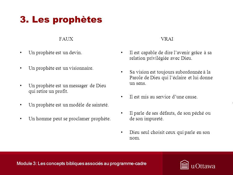 Module 3: Les concepts bibliques associés au programme-cadre 3. Les prophètes 3.1 La fonction dun prophète Le prophète est un homme habité et animé pa