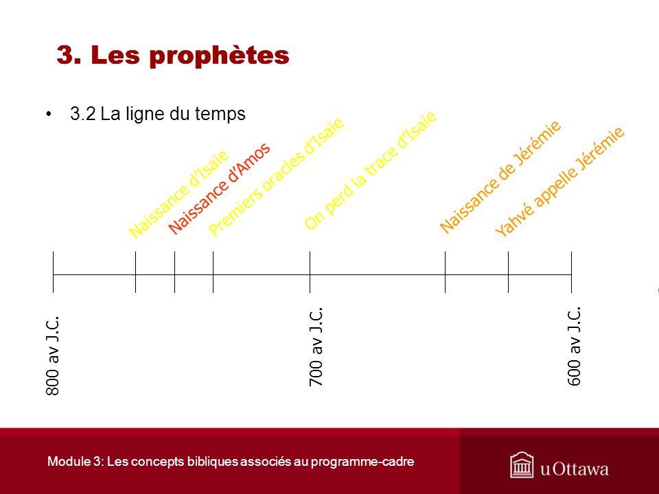 Module 3: Les concepts bibliques associés au programme-cadre 3. Les prophètes FAUX Un prophète est un devin. Un prophète est un visionnaire. Un prophè