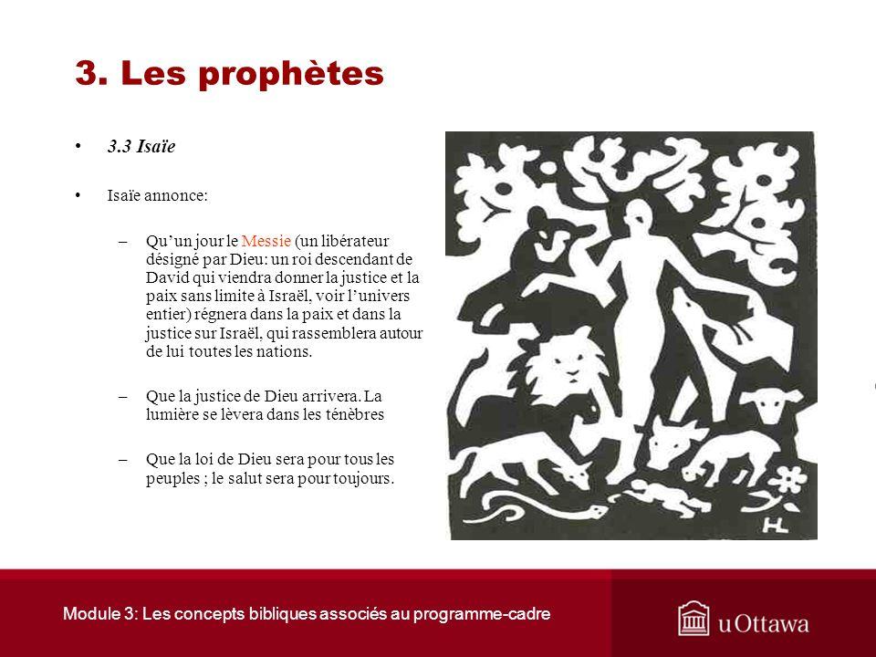 Module 3: Les concepts bibliques associés au programme-cadre 3. Les prophètes « On ne fera plus de mal ni de violence sur toute ma montagne sainte, ca