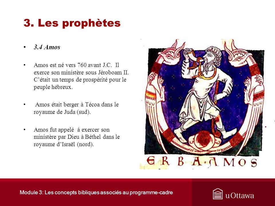 Module 3: Les concepts bibliques associés au programme-cadre 3. Les prophètes 3.3 Isaïe Isaïe annonce: –Quun jour le Messie (un libérateur désigné par