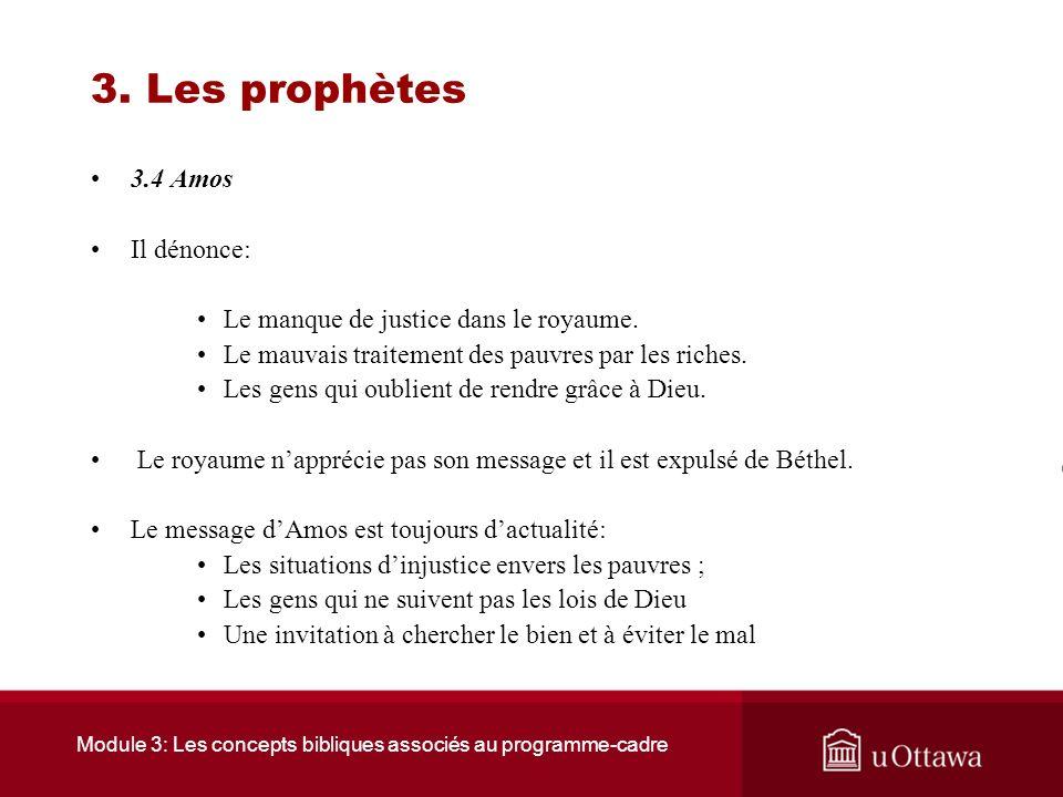 Module 3: Les concepts bibliques associés au programme-cadre 3. Les prophètes 3.4 Amos Amos est né vers 760 avant J.C. Il exerce son ministère sous Jé