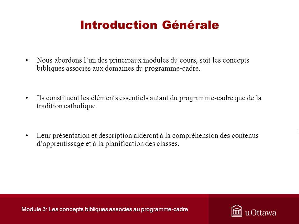 Module 3: Les concepts bibliques associés au programme-cadre Introduction Générale Nous abordons lun des principaux modules du cours, soit les concepts bibliques associés aux domaines du programme-cadre.