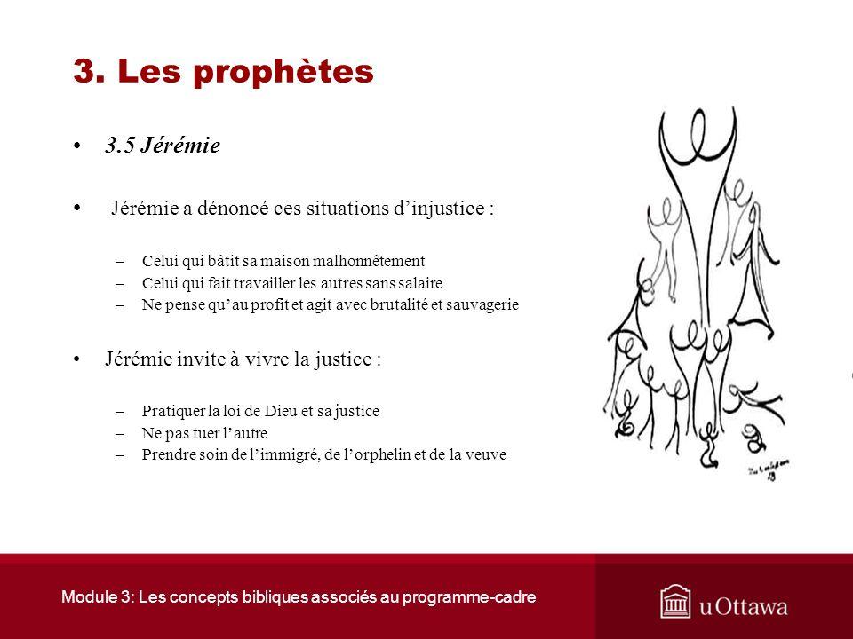 Module 3: Les concepts bibliques associés au programme-cadre 3. Les prophètes 3.5 Jérémie Son nom signifie « celui que Dieu a établi » ; Il est né à A