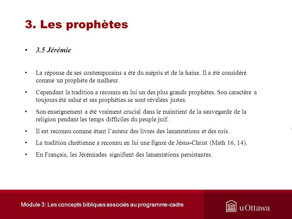 Module 3: Les concepts bibliques associés au programme-cadre 3. Les prophètes 3.5 Jérémie Jérémie a dénoncé ces situations dinjustice : –Celui qui bât
