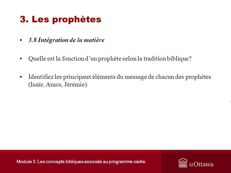 Module 3: Les concepts bibliques associés au programme-cadre 3. Les prophètes 3.7 Ressources Site où il est possible dobtenir rapidement tous les vers