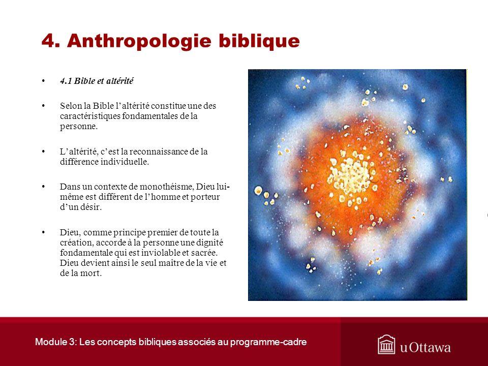 Module 3: Les concepts bibliques associés au programme-cadre 4. Anthropologie biblique Introduction La tradition biblique reflète une image de lhomme