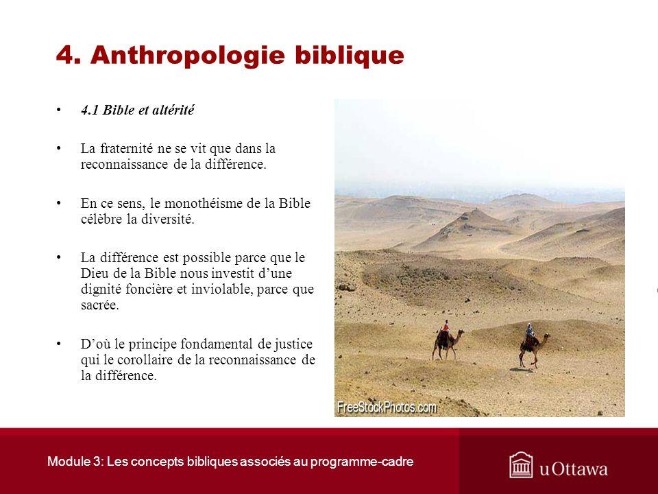 Module 3: Les concepts bibliques associés au programme-cadre 4. Anthropologie biblique 4.1 Bible et altérité Selon la Bible laltérité constitue une de