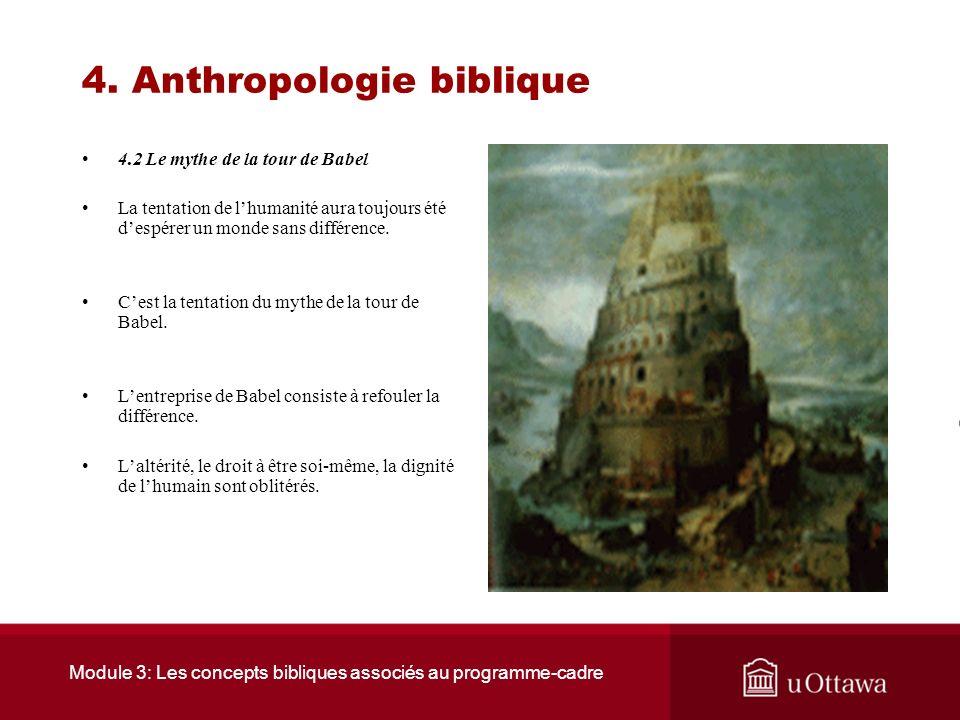 Module 3: Les concepts bibliques associés au programme-cadre 4. Anthropologie biblique 4.1 Bible et altérité La fraternité ne se vit que dans la recon