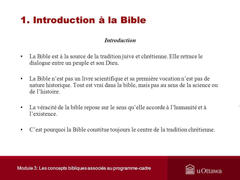 Module 3: Les concepts bibliques associés au programme-cadre Introduction Générale Nous abordons lun des principaux modules du cours, soit les concept