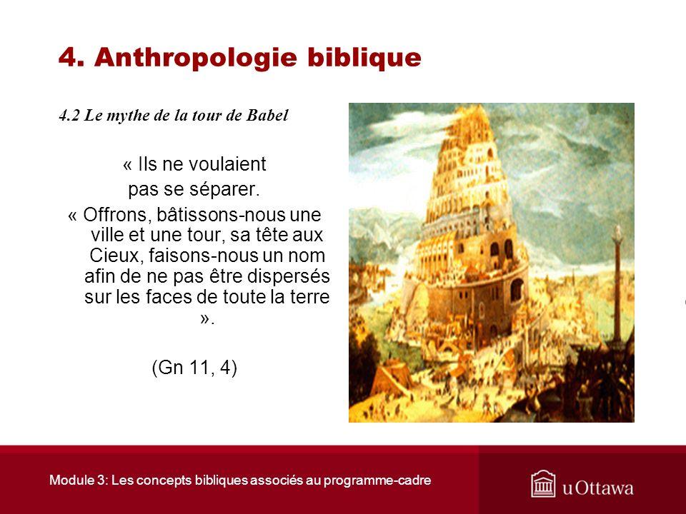 Module 3: Les concepts bibliques associés au programme-cadre 4. Anthropologie biblique 4.2 Le mythe de la tour de Babel La tentation de lhumanité aura