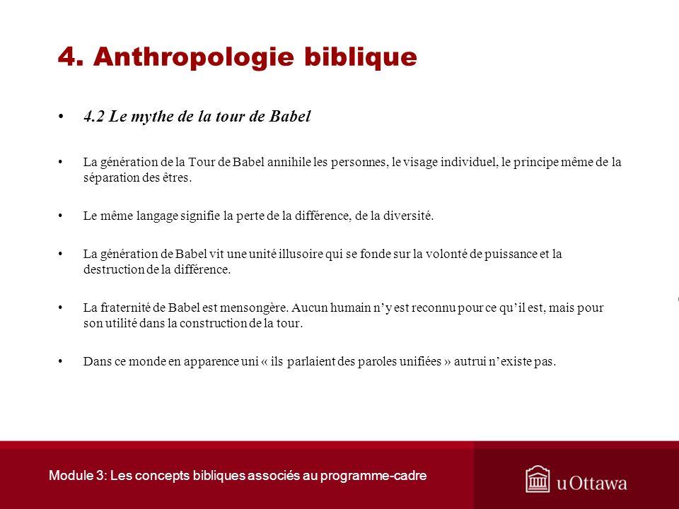 Module 3: Les concepts bibliques associés au programme-cadre 4. Anthropologie biblique 4.2 Le mythe de la tour de Babel « Ils ne voulaient pas se sépa