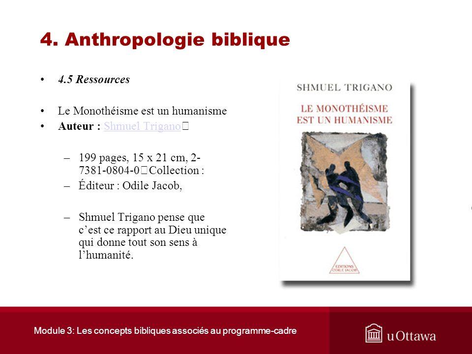 Module 3: Les concepts bibliques associés au programme-cadre 4. Anthropologie biblique 4.4 Sommaire La Bible porte une image de lhomme et de la femme.