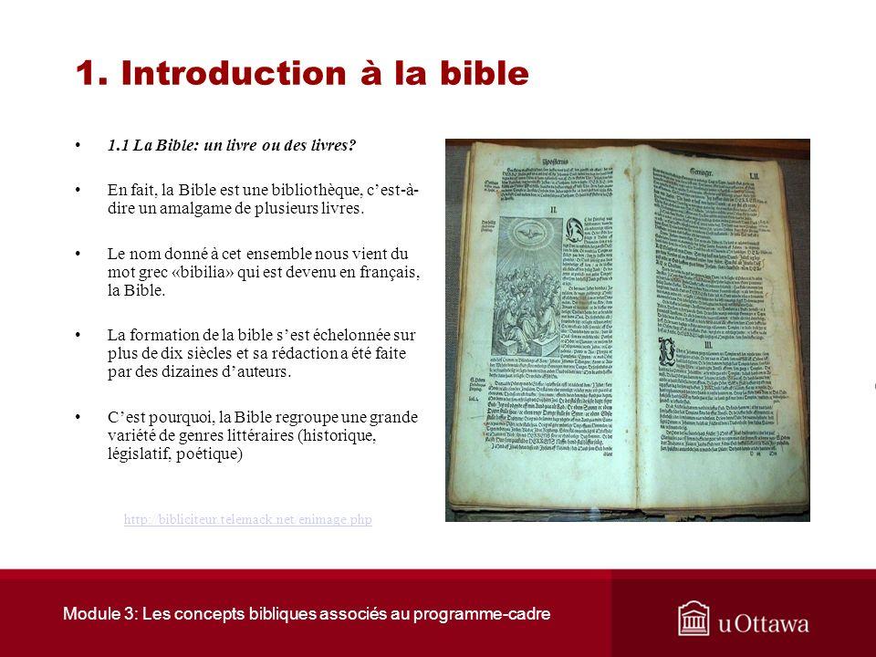 Module 3: Les concepts bibliques associés au programme-cadre 1. Introduction à la Bible Introduction La Bible est à la source de la tradition juive et