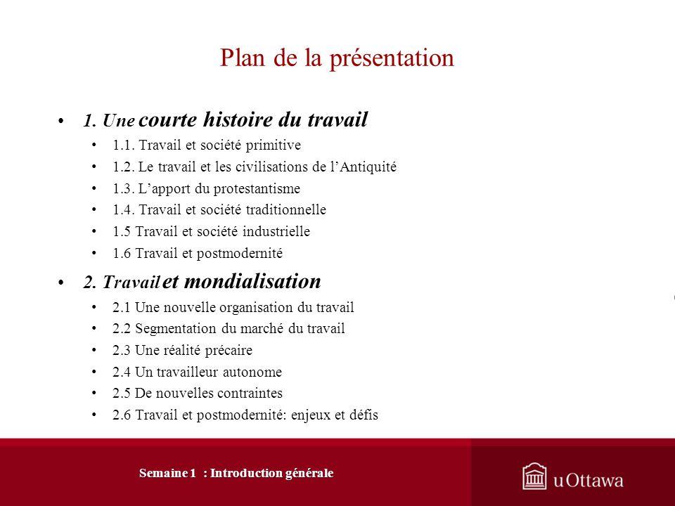 Plan de la présentation 1.Une courte histoire du travail 1.1.