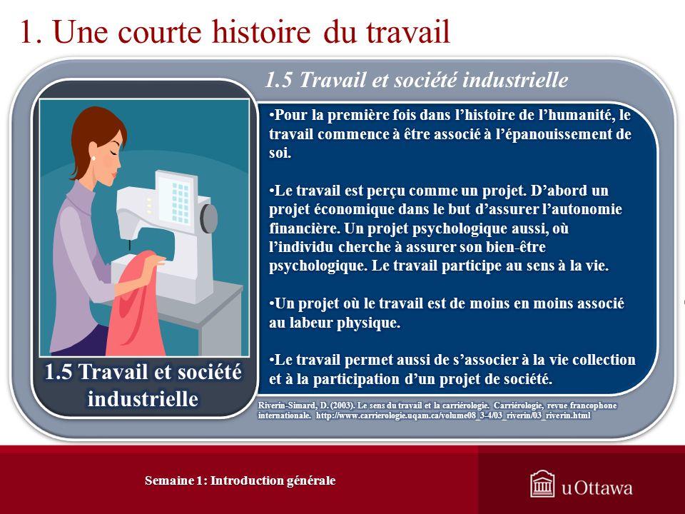 Semaine 1: Introduction générale 1. Une courte histoire du travail 1.5 Travail et société industrielle