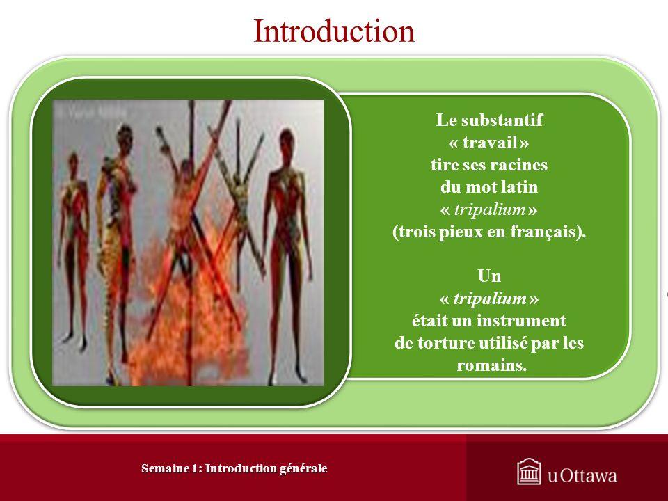 Introduction Le substantif « travail » tire ses racines du mot latin « tripalium » (trois pieux en français).