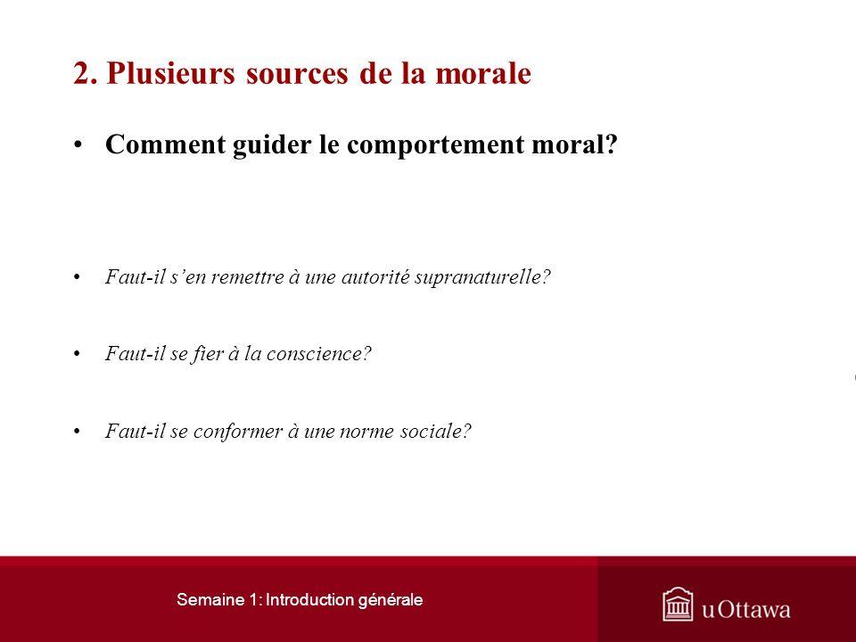 Semaine 1: Introduction générale 1. Comment définir léthique 1.3 Signification actuelle du mot éthique Actuellement l'éthique désigne une morale secto