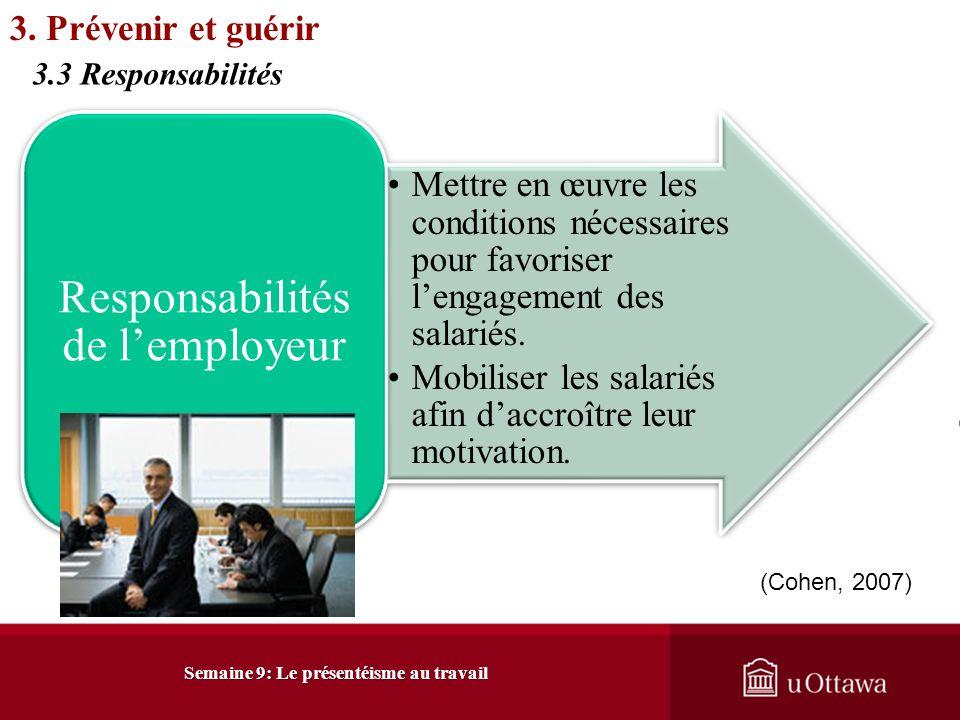 Intervention tertiaire: Traitements Traitement, réhabilitation et retour au travailProgramme daide aux employés Semaine 9: Le présentéisme au travail