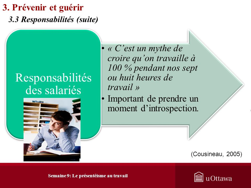 Semaine 9: Le présentéisme au travail 3. Prévenir et guérir 3.3 Responsabilités (Cohen, 2007)
